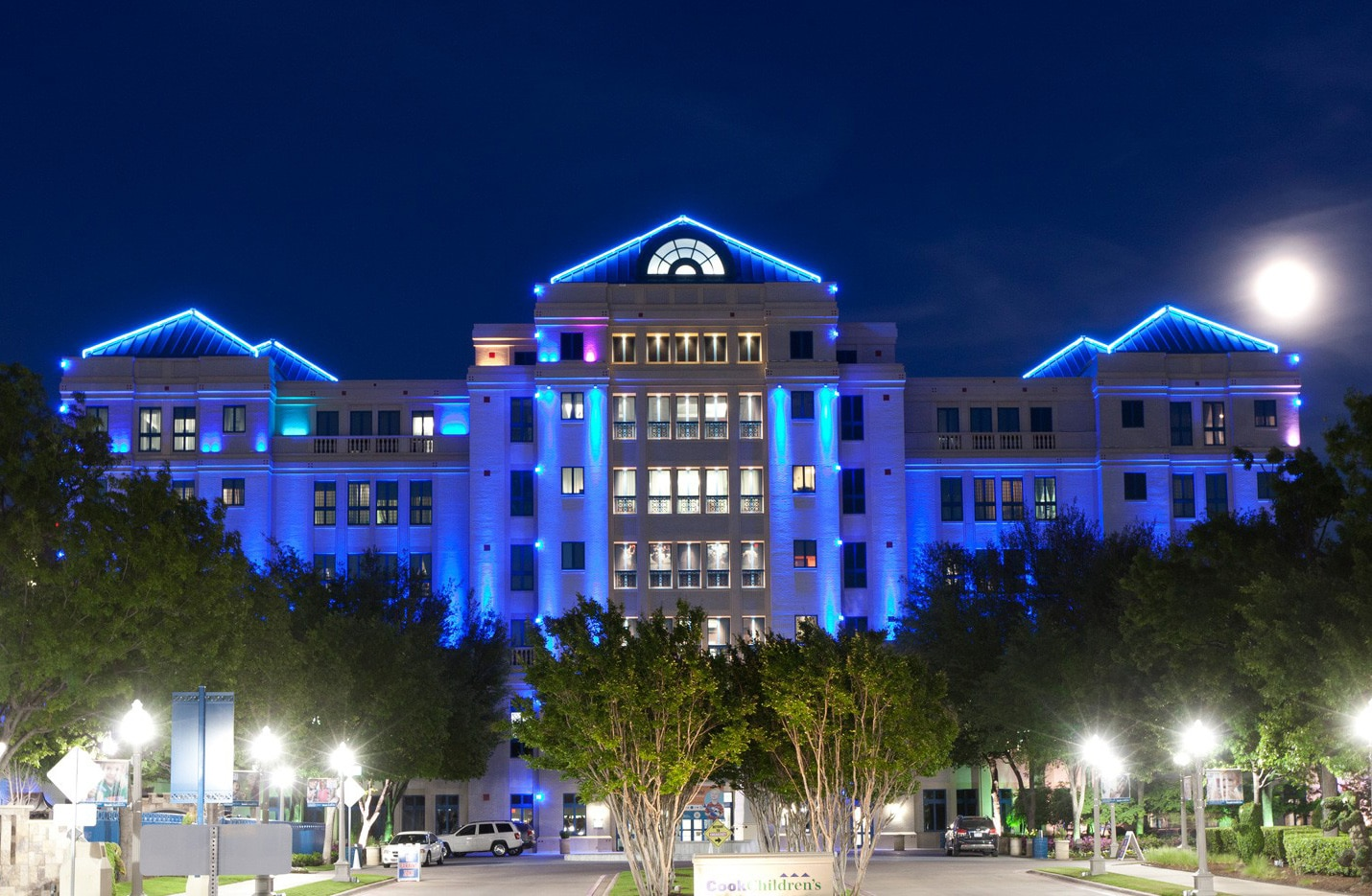 The Cook Children's Medical Center lit up at night